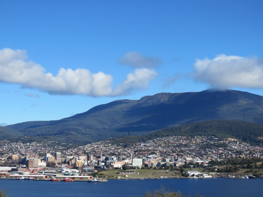 Hobart with Mt Wellington in the background
