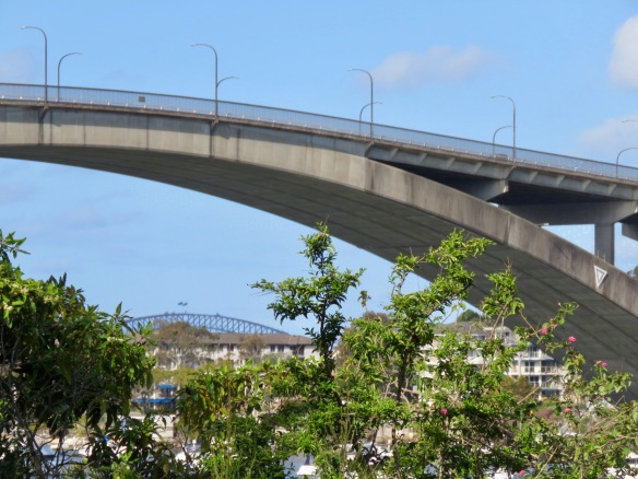 Gladesville Bridge arch with Sydney Harbour Bridge in background
