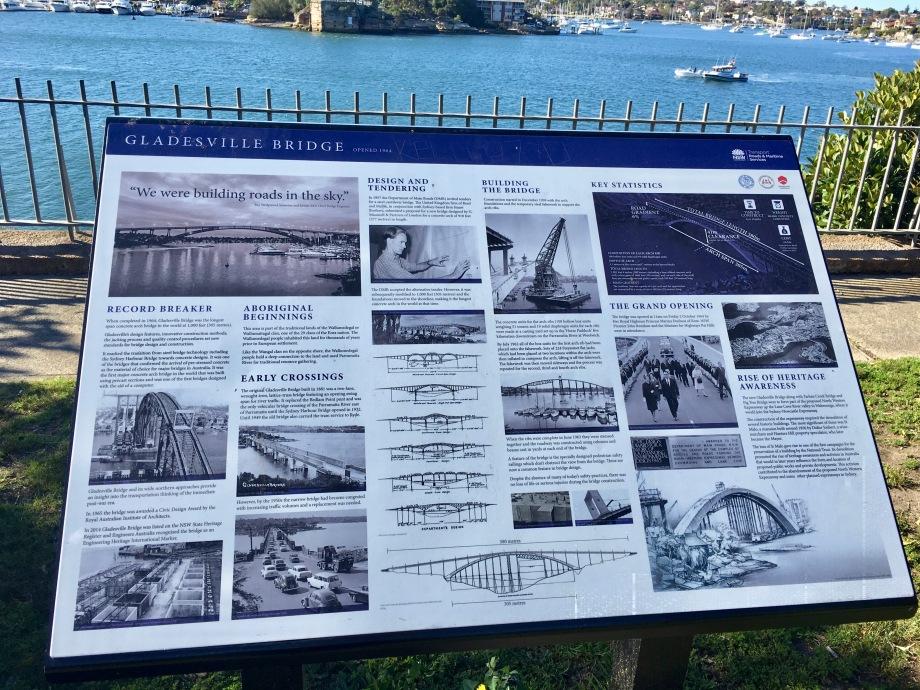 Sign about Gladesville bridge at Henley