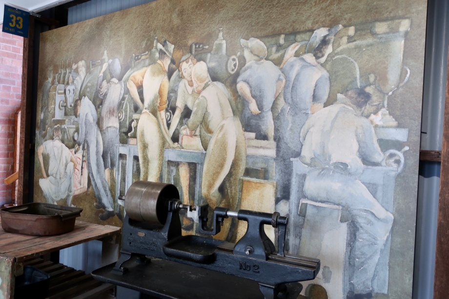 Mural depicting working life in the factory