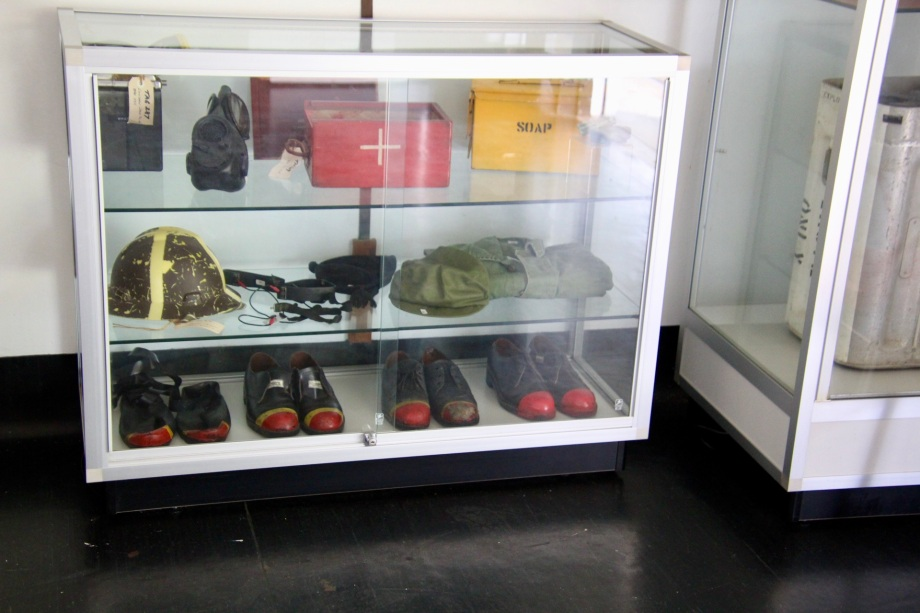 Display case at Newington Armory